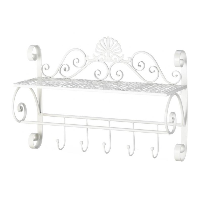 Image 1 of White Flourish Wall Shelf w/ 5 Small Hooks for Hanging Towels, Hats, Handbags
