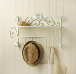 White Flourish Wall Shelf w/ 5 Small Hooks for Hanging Towels, Hats, Handbags