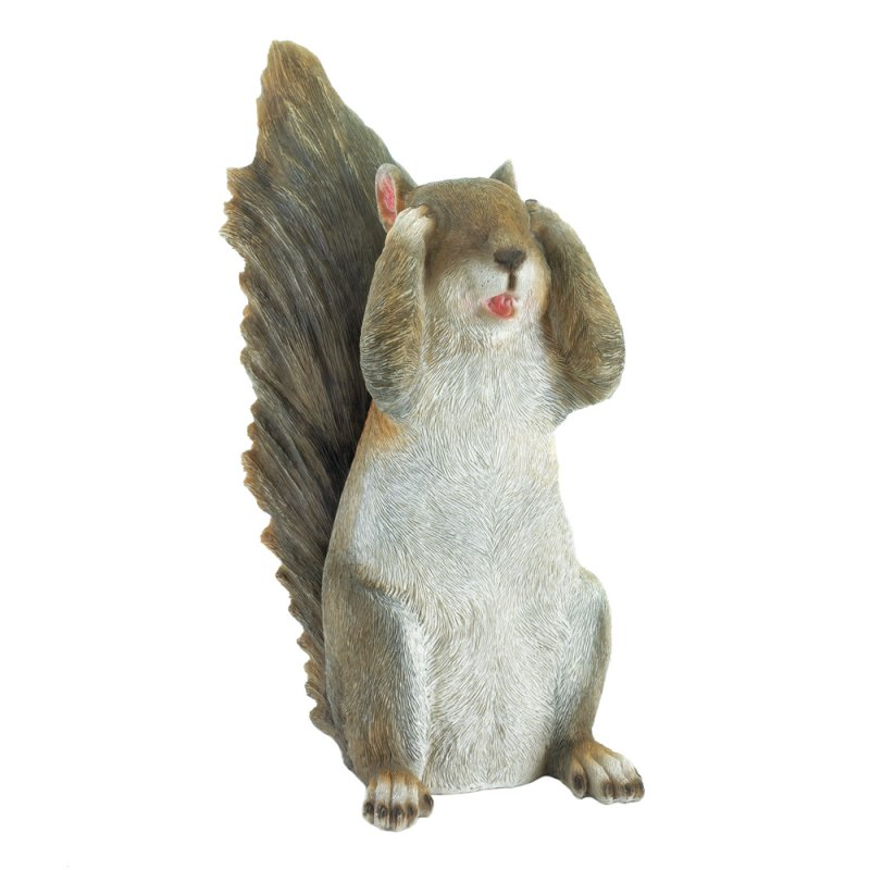 Image 1 of See No Evil Squirrel Garden Figurine
