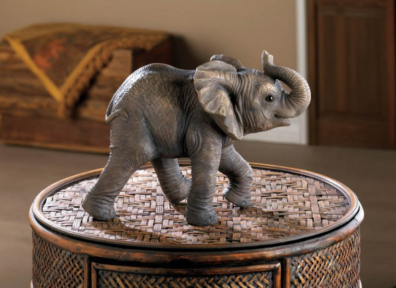 Image 0 of Happy Little Elephant Figurine w/ Trunk Up Indoors or in Garden or Patio