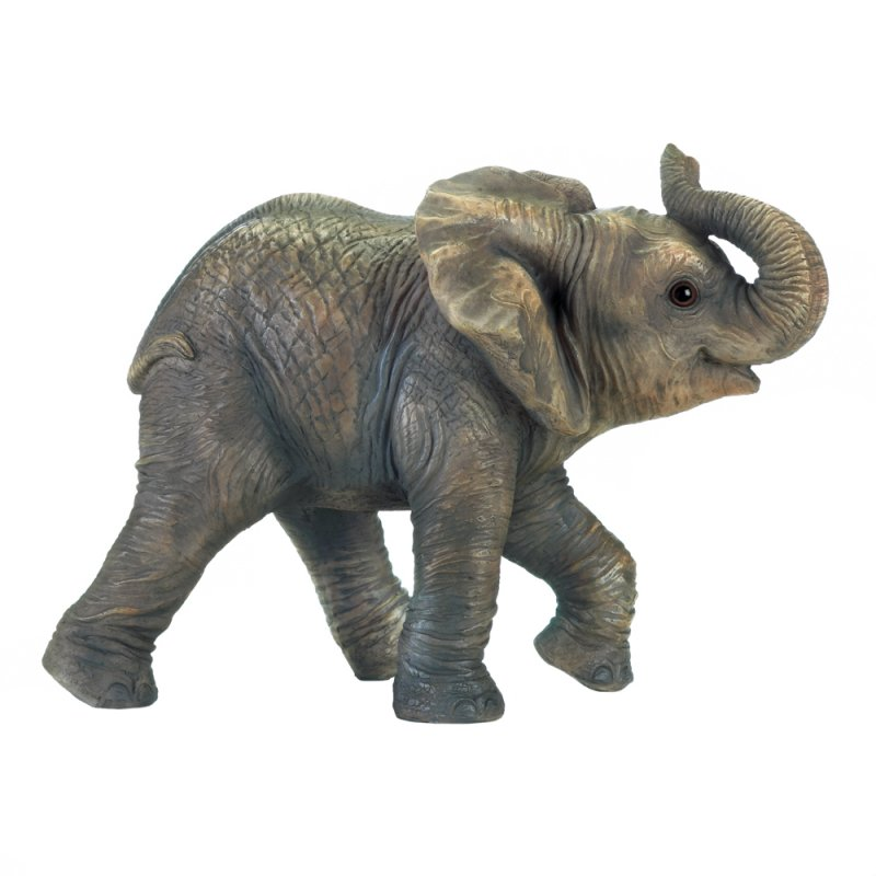 Image 1 of Happy Little Elephant Figurine w/ Trunk Up Indoors or in Garden or Patio