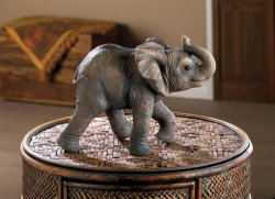 Happy Little Elephant Figurine w/ Trunk Up Indoors or in Garden or Patio