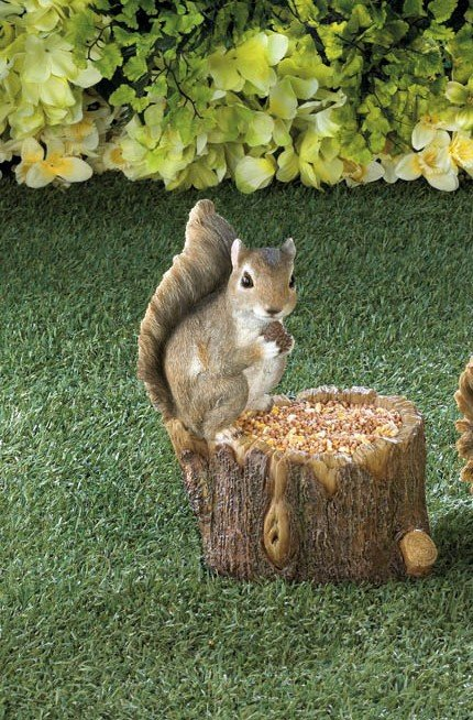 Image 0 of Squirrel Sitting on Top Tree Trunk Bird Feeder