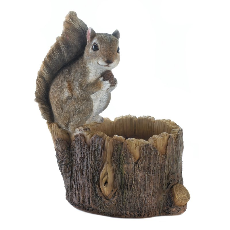 Image 1 of Squirrel Sitting on Top Tree Trunk Bird Feeder