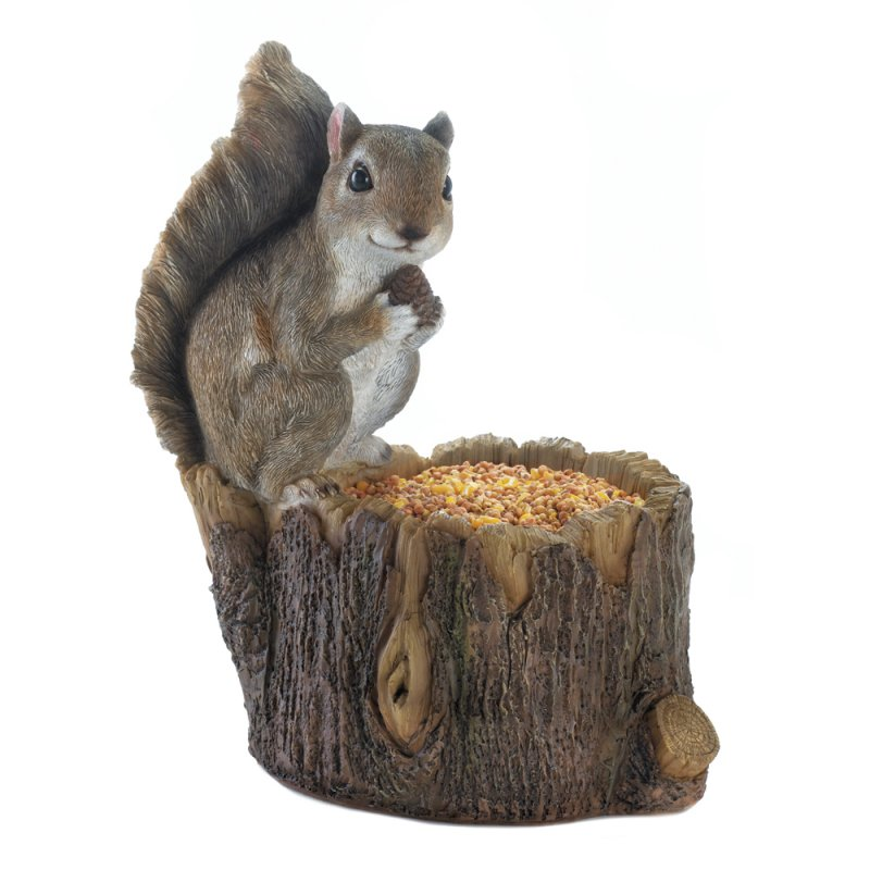 Image 2 of Squirrel Sitting on Top Tree Trunk Bird Feeder