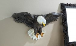 Beautifully Detailed Soaring Bald Eagle Wall Sculpture