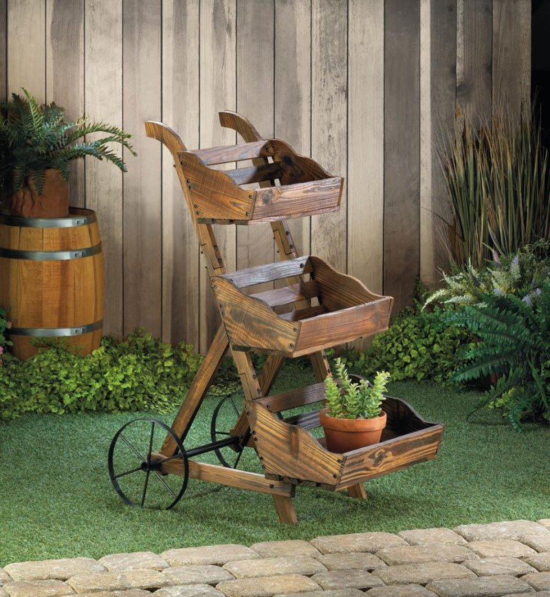 Image 0 of 3-Tier Wooden Country Cart Plant Stand Use Indoors or Outdoor