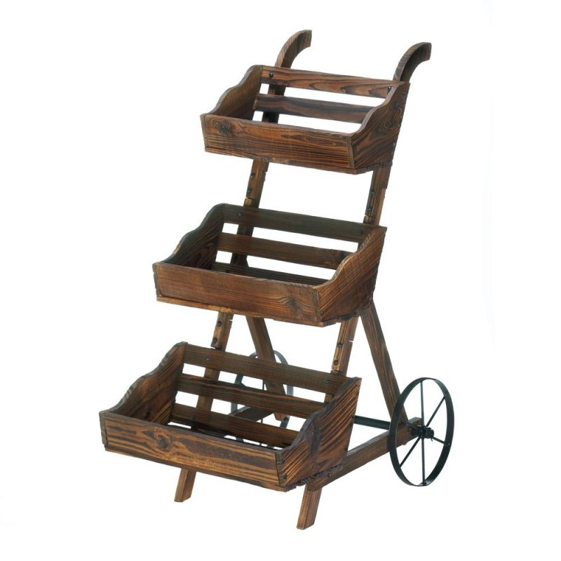 Image 1 of 3-Tier Wooden Country Cart Plant Stand Use Indoors or Outdoor