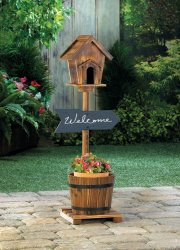 Rustic Wooden Birdhouse on Stand w/ Planter Barrel Below & Chalkboard Sign