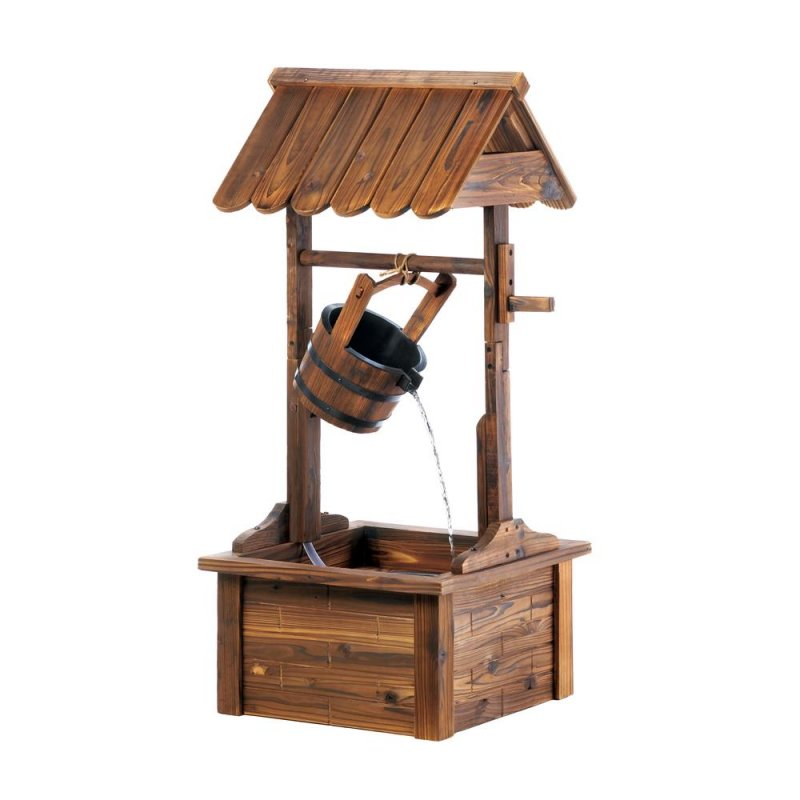 Image 1 of Wooden Roofed Wishing Well Garden Fountain Waster Flows From Metal Banded Bucket