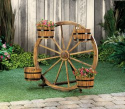 Wagon Wheel with 4 Metal Banded Planter Barrels Display
