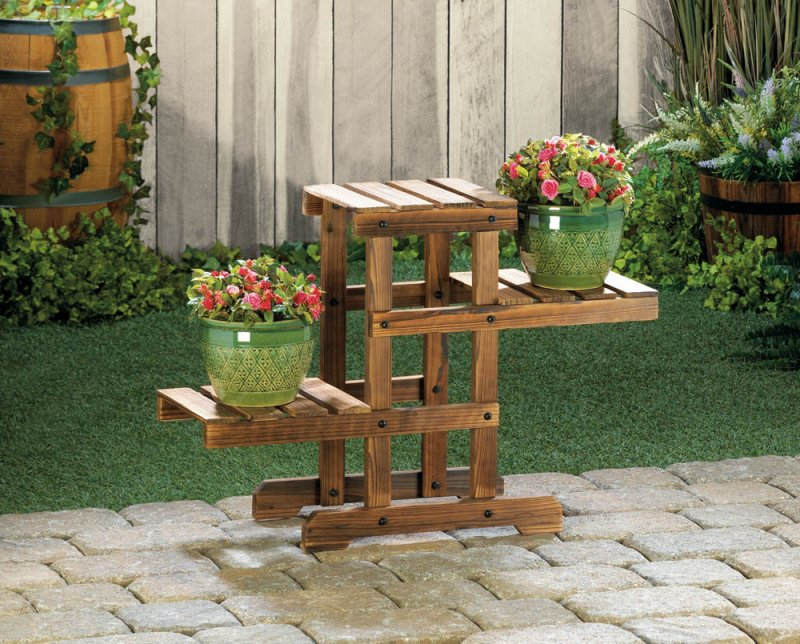 Image 0 of Rustic Wooden Zig Zag  Plant Stand 3 Platforms Use Indoors or Outdoor