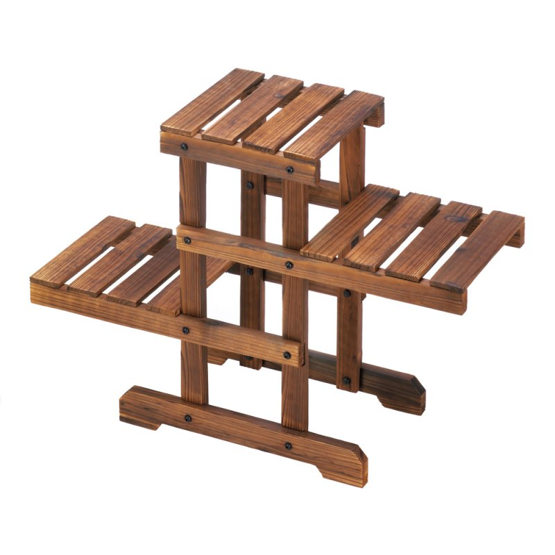 Image 1 of Rustic Wooden Zig Zag  Plant Stand 3 Platforms Use Indoors or Outdoor