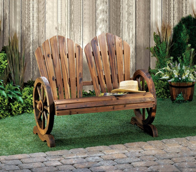Image 0 of Rustic Wagon Wheel Couple's Bench Chair with Flared Backs