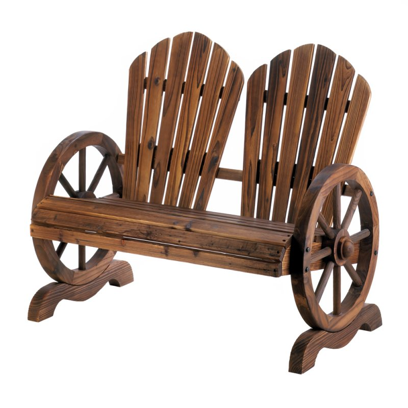 Image 1 of Rustic Wagon Wheel Couple's Bench Chair with Flared Backs