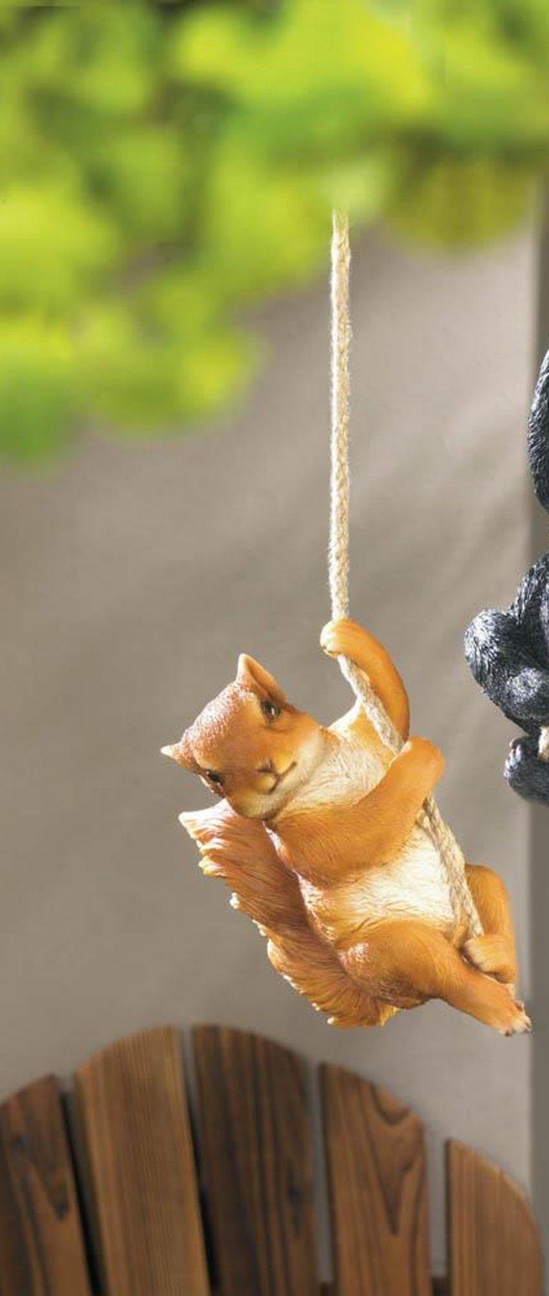 Image 1 of Hanging Squirrel Figurine Garden Patio Decor