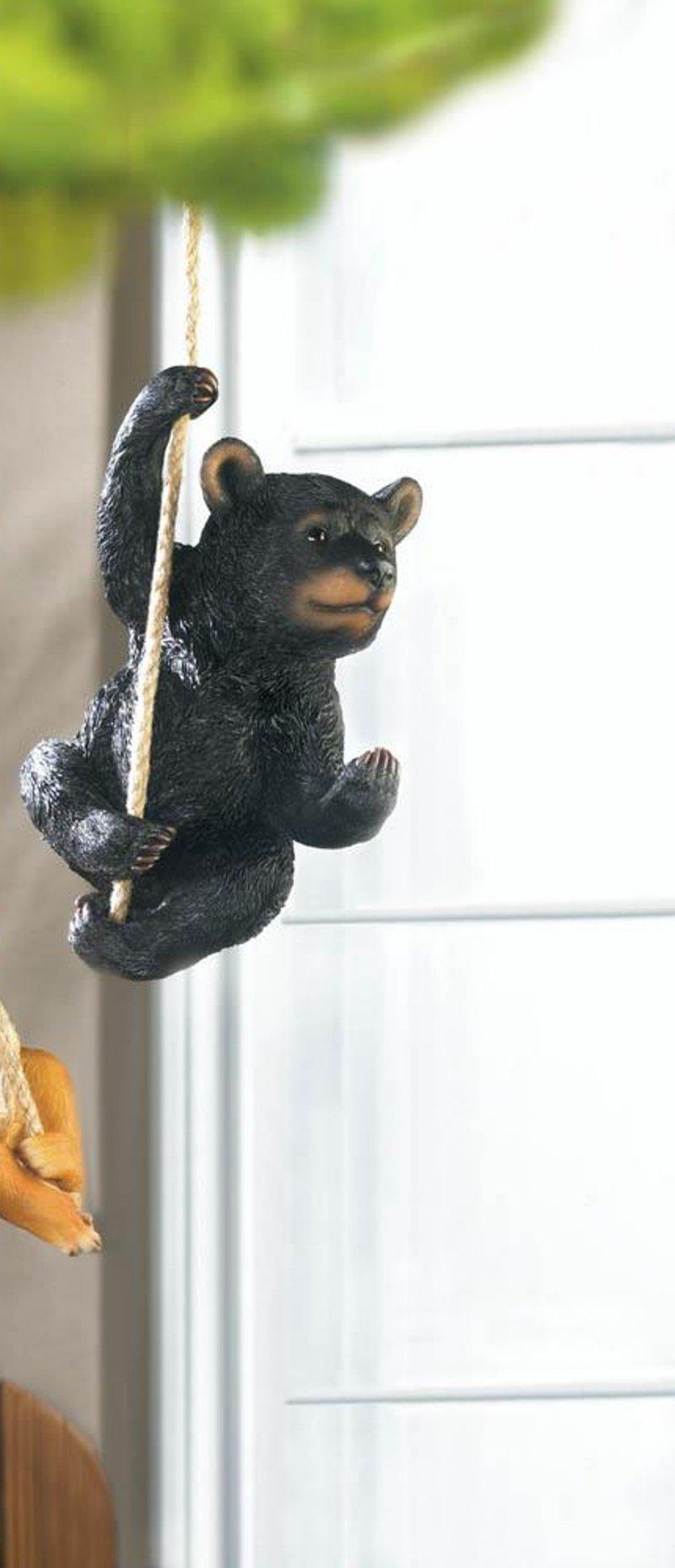 Image 0 of Hanging Black Bear Figurine Garden Patio or Porch Decor