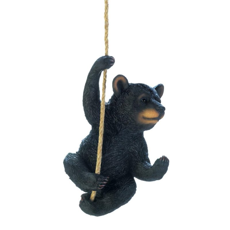 Image 1 of Hanging Black Bear Figurine Garden Patio or Porch Decor