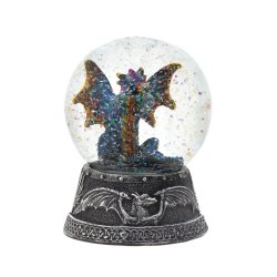 Blue Dragon Snow Globe with Medieval Designs on Base