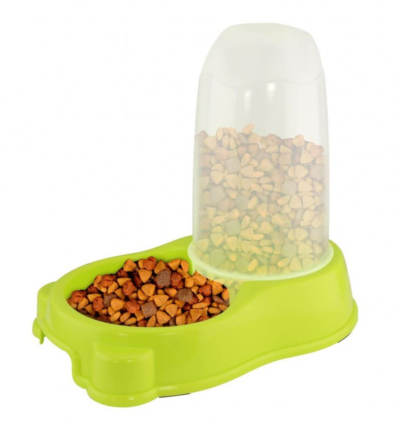 Image 1 of Lime Green Automatic Kibble Pet Feeder Holds 44 ounces of Food