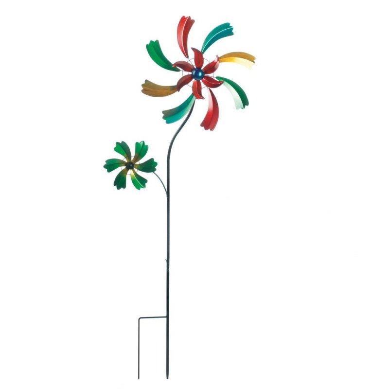Image 1 of Colorful Wildflower Windmill w/ 2 Spinning Flowers