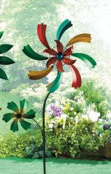 Colorful Wildflower Windmill w/ 2 Spinning Flowers