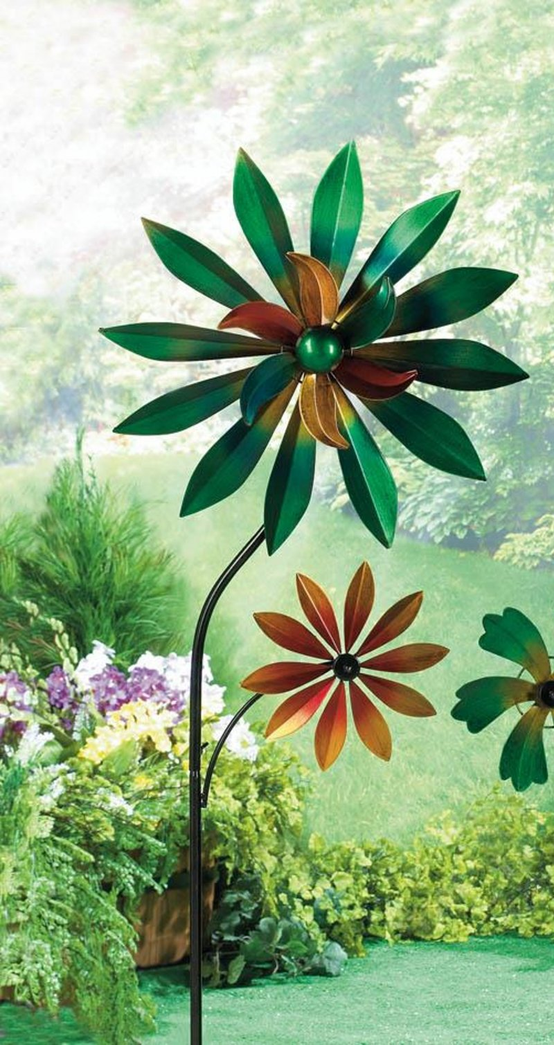 Image 0 of Colorful Dahlia Windmill w/ 2 Spinning Flowers Garden Decor