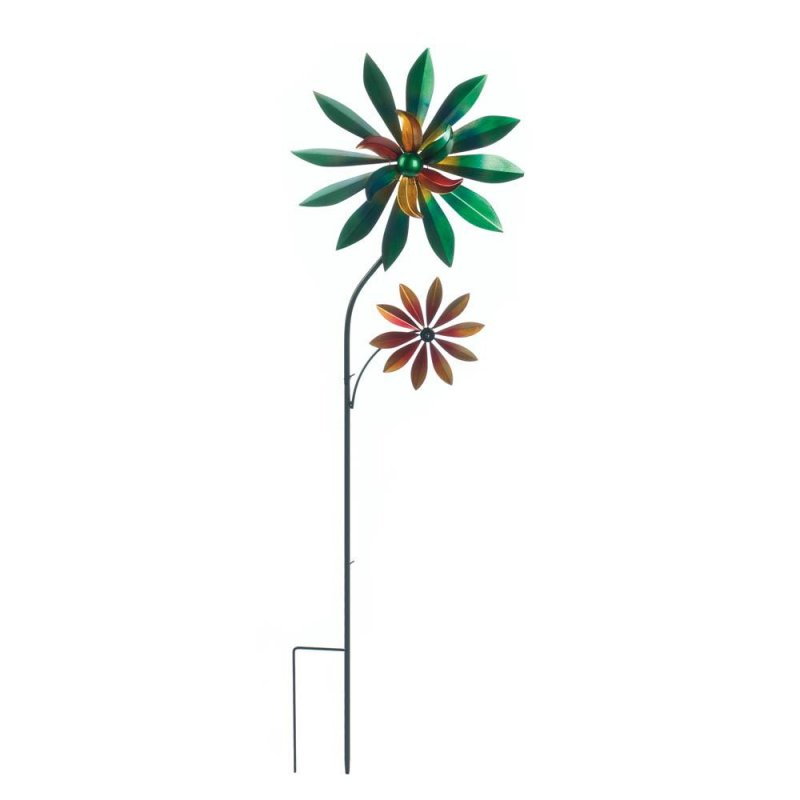 Image 1 of Colorful Dahlia Windmill w/ 2 Spinning Flowers Garden Decor