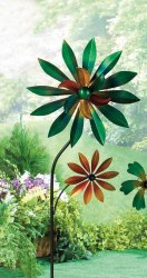 Colorful Dahlia Windmill w/ 2 Spinning Flowers Garden Decor