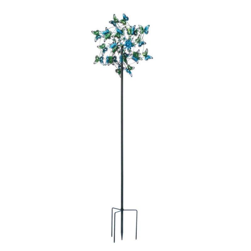 Image 0 of Blue Fluttering Kinetic Butterflies Windmill 83