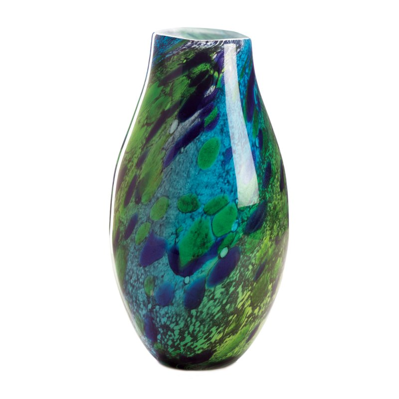 Image 1 of Shades of Green & Deep Blue Swirls Peacock Inspired Decorative Art Glass Vase