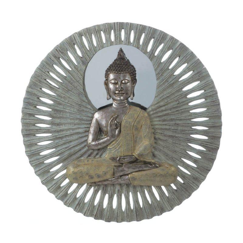 Image 0 of Zen Buddha Circular Wall Plaque Sculpture  23
