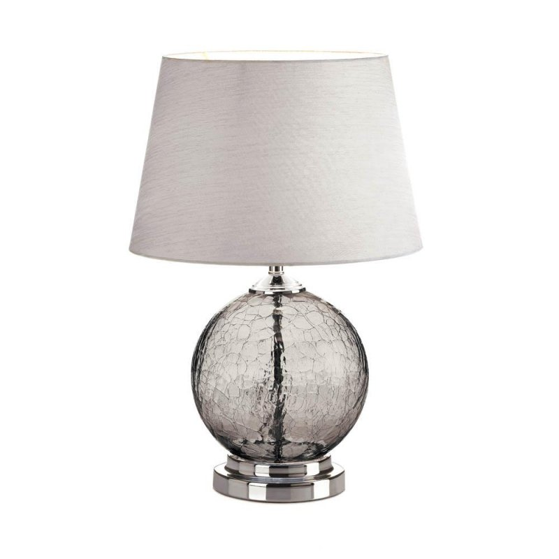 Image 0 of Gray Crackled Glass Orb Table Lamp w/ Silvery Neutral Silk Fabric Shade