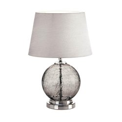 Gray Crackled Glass Orb Table Lamp w/ Silvery Neutral Silk Fabric Shade
