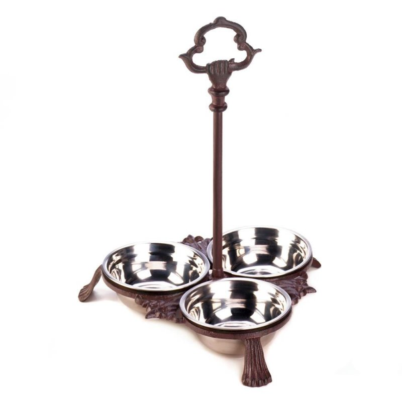 Image 0 of 3 Stainless Steel Dog/Cat Pet Bowls Set in Cast Iron Stand with Handle