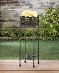 Cast Iron Square Filigree Basket Plant Stand with Shelf on Bottom