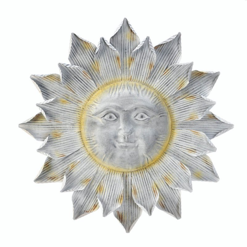 Image 1 of Silver Smiling Sun Wall Art Plaque with Shimmering Golden Rays