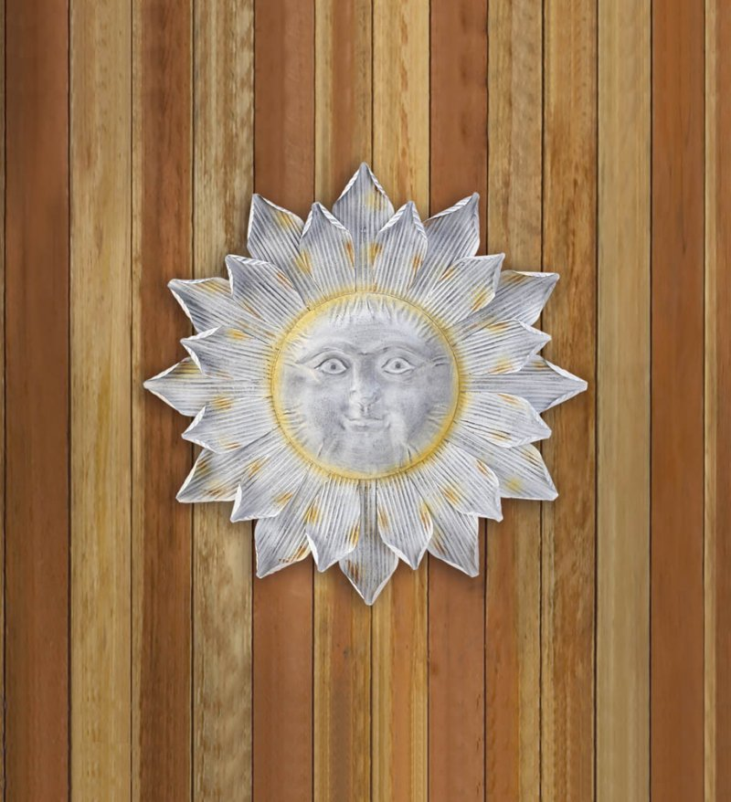 Image 0 of Silver Smiling Sun Wall Art Plaque with Shimmering Golden Rays
