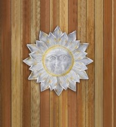 Silver Smiling Sun Wall Art Plaque with Shimmering Golden Rays