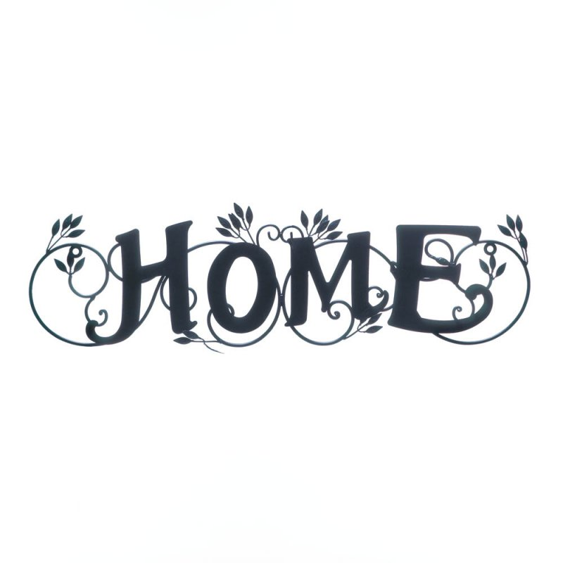 Image 0 of Home in Lovely Script Wall Plaque with Scrolling Ivy