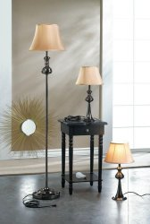 Black Plated Modern Floor & 2 Table Lamps w/ Neutral Fabric Shades