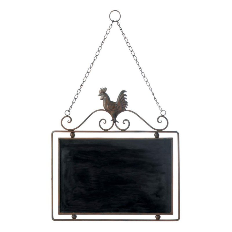 Image 0 of Hanging Country Rooster with Scrollwork Message Chalkboard Wall Decor