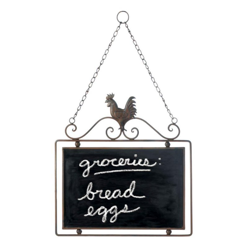 Image 1 of Hanging Country Rooster with Scrollwork Message Chalkboard Wall Decor