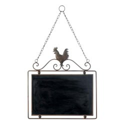 Hanging Country Rooster with Scrollwork Message Chalkboard Wall Decor