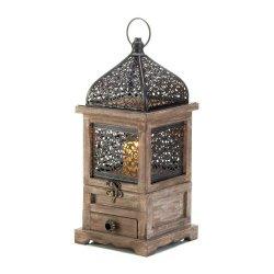 Large Pine Wood w/ Black Iron Cutouts Flip Top Candle Lantern w/ Drawer