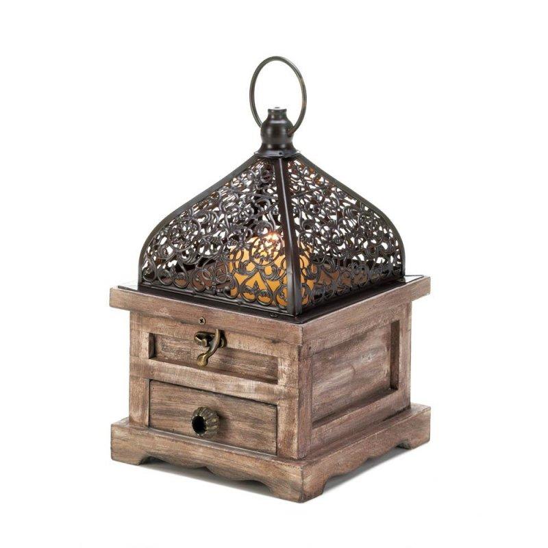 Image 0 of Small Pine Wood w/ Black Iron Cutouts Flip Top Candle Lantern w/ Drawer