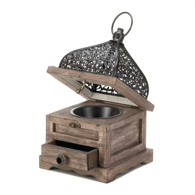 Image 1 of Small Pine Wood w/ Black Iron Cutouts Flip Top Candle Lantern w/ Drawer