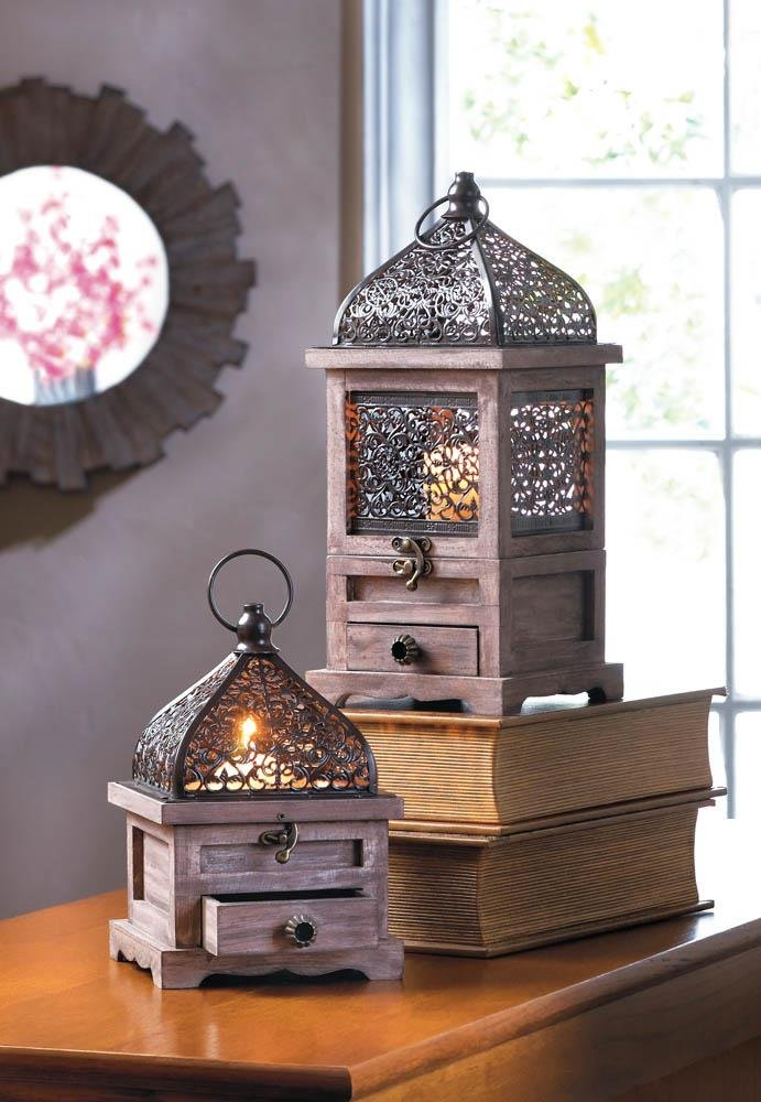 Image 2 of Small Pine Wood w/ Black Iron Cutouts Flip Top Candle Lantern w/ Drawer