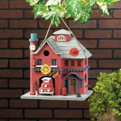 2 Story Red Fire Station Birdhouse w/ Firetruck, Clock,, Hat, Hose & Hydrant