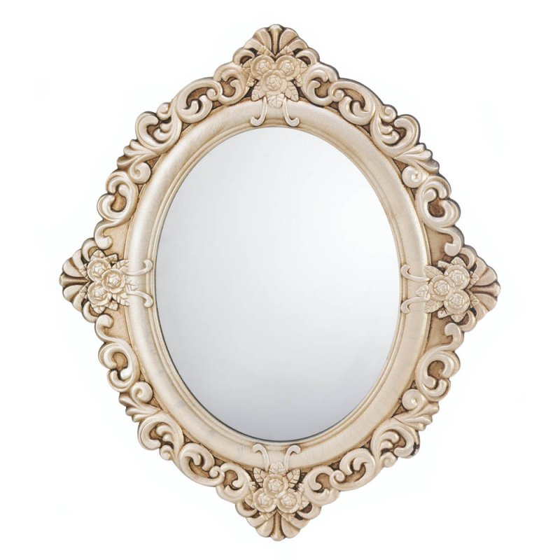 Image 1 of Antiqued Ivory Vintage Finish Wooden Oval Wall Mirror with Flowers & Flourishes